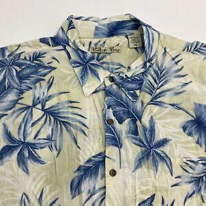 Batik-Bay-Button-Up-Shirt-Men-039-s-Size-2XL-XXL-Short-Sleeve-Tan-Blue-Hawaiian