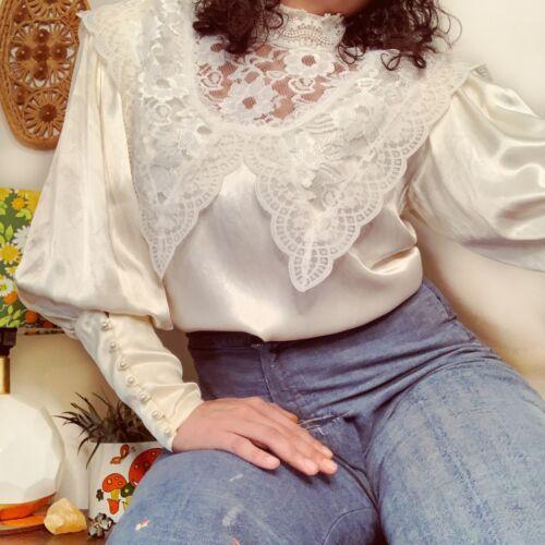 Vintage Gunne Sax Edwardian Silk Lace Blouse