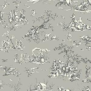 Wallpaper-Designer-French-Country-Scenic-Gray-and-Eggshell-White-Toile