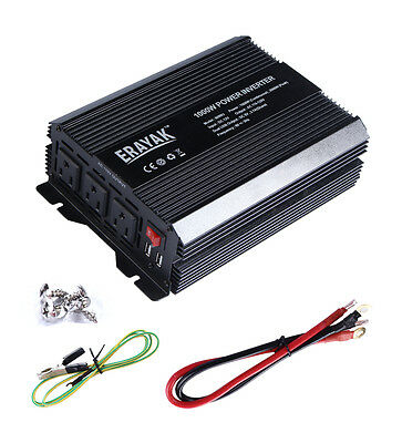 ERAYAK 800W Power Inverter 3 US Outlets,3.1A Dual USB Ports