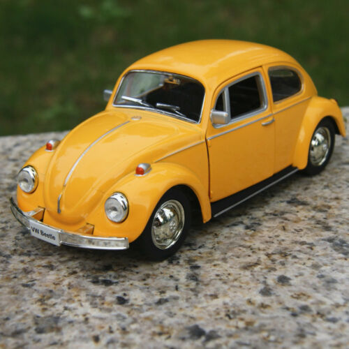 1 of 1 - Vw beetle 1967 Classic Yellow Alloy Diecast Car Model Two doors can be opened