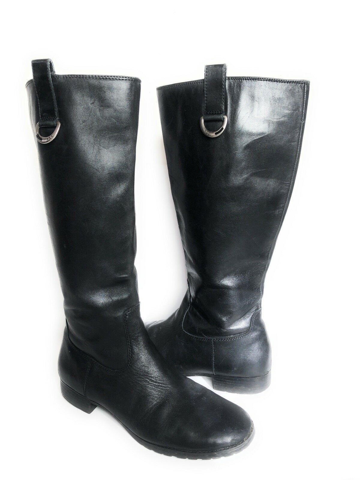 Lauren Ralph Lauren SAGIRA II Women's Boots Tall 9.5 B Black Leather Riding
