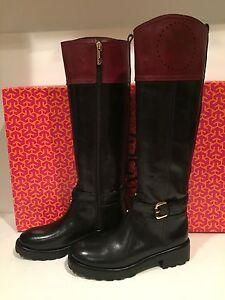 Tory Burch Leather Daniela Riding Black And Maroon Boots 5 1/2