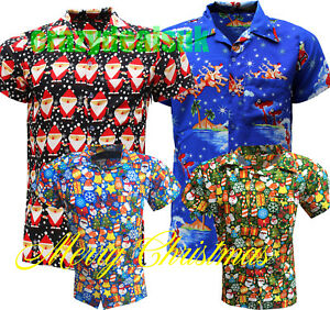 Homme-Noel-Chemise-T-shirts-Santa-Noel-Hawaien-Hawaii-Party-Fancy-Dress