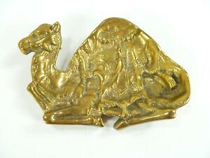 Vintage-Brass-Mid-Century-Camel-Trinket-Dish-Key-Holder-by-Decorative-Crafts