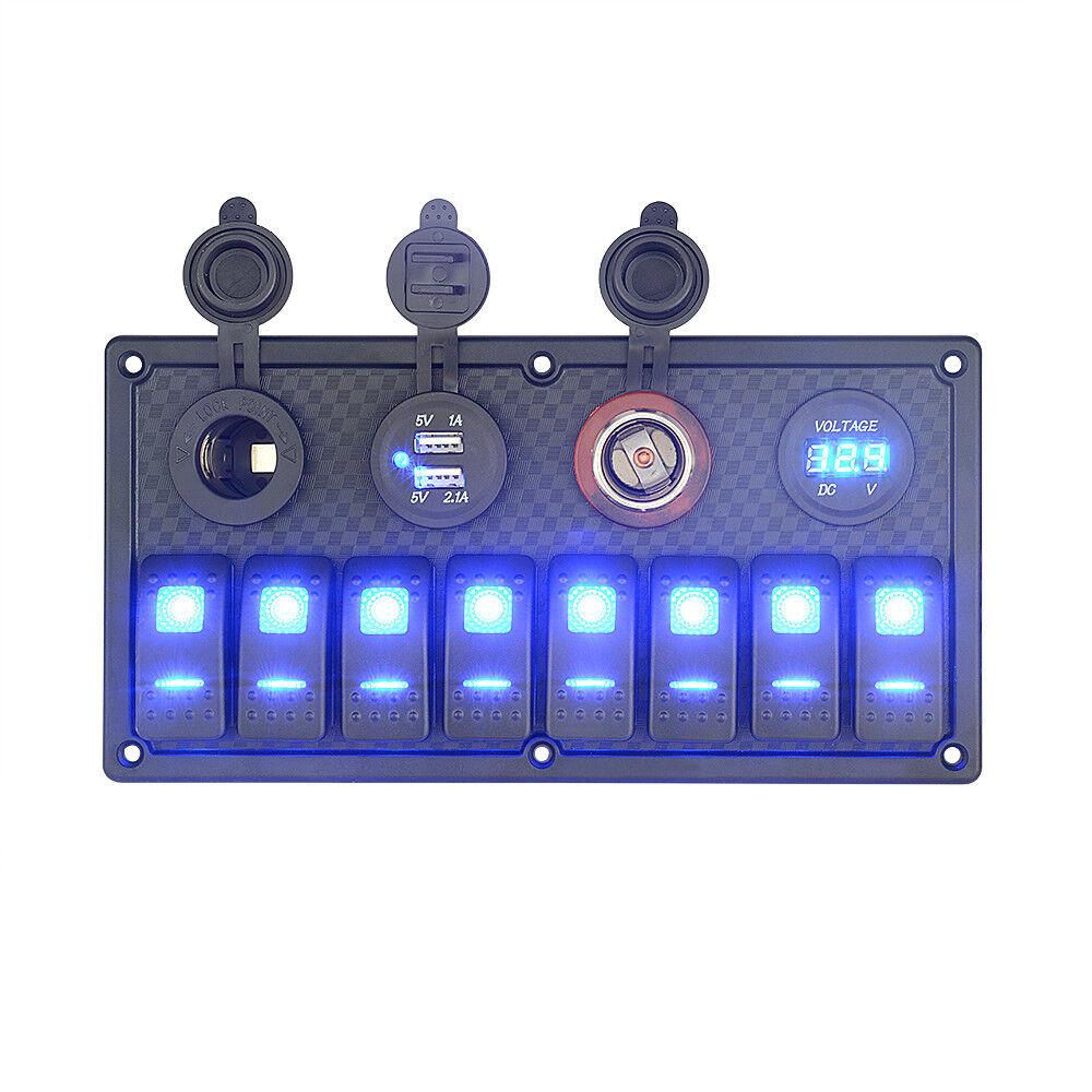 8Gang LED Schaltpanel Schalttafel Wippschalter Dual USB Ladegerät Voltmeter Stiefel