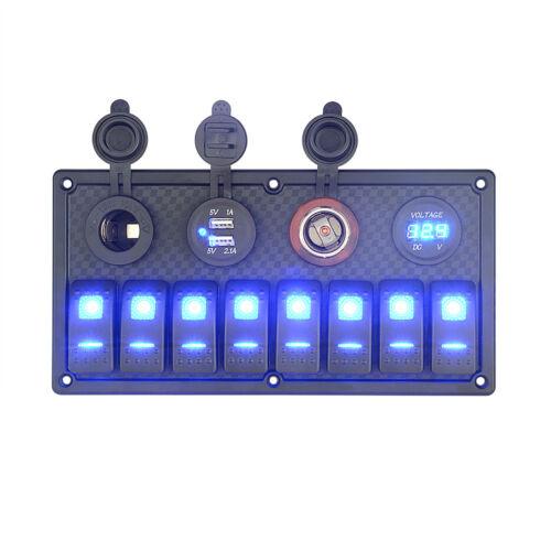 8Gang LED Schaltpanel Schalttafel Wippschalter Dual USB Ladegerät Voltmeter Boot