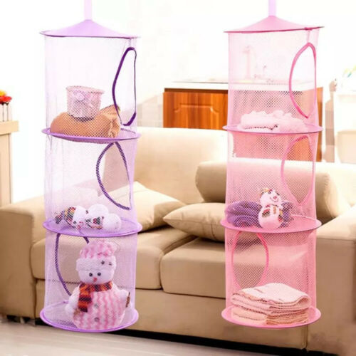 3-Layers Hanging Storage Mesh Net Home Bathroom Closet Kids Toys Organizer Bag