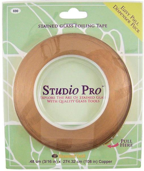 "STUDIO PRO STAINED GLASS 3/16"" COPPER FOIL IN DISPENSER PACK ROLL"
