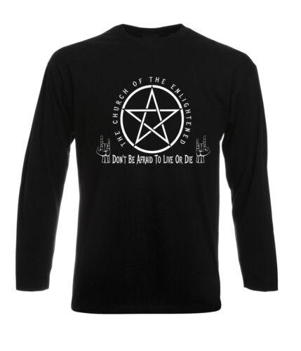 Pentagram T-Shirt Gothic Emo Satanic Devil Worship Atheist Enlightened Long Slev