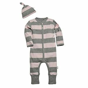 Burt-039-s-Bees-Baby-Girl-Coverall-amp-Knot-Top-Hat-Set-Pink-amp-Gray-Stripes