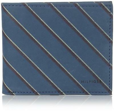 NEW TOMMY HILFIGER MEN'S LEATHER CREDIT CARD WALLET BILLFOLD COBALT 31TL13X043