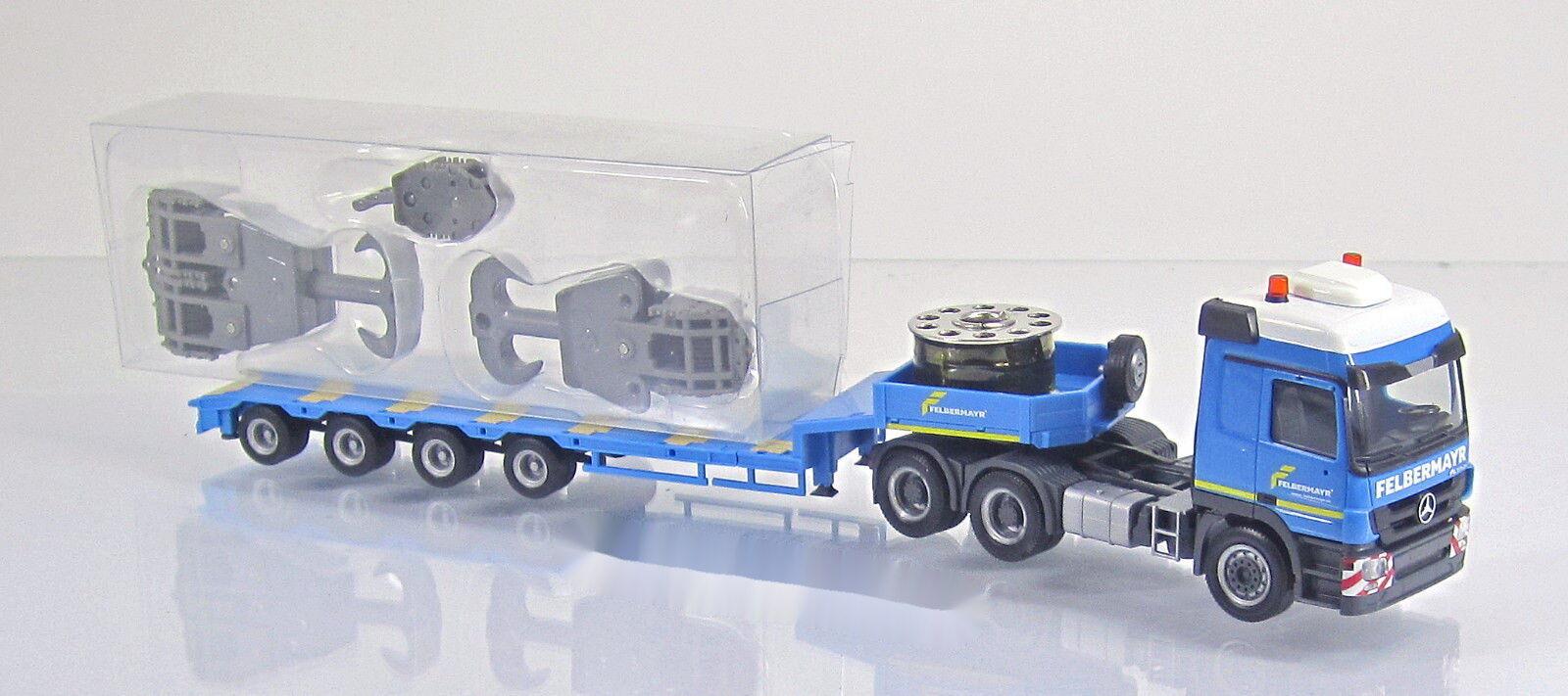 Herpa 303897 Mercedes Actros MP2 L Semitieflade LKW Felbermayr Hakenflaschen