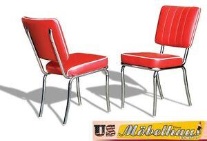 co-25-Rojo-Bel-Air-Muebles-2-SILLAS-RESTAURANTE-de-cocina-en-estilo-50er-ANOS