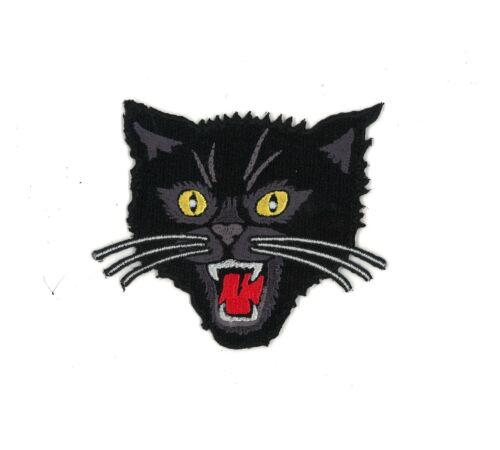 "3.5/"" Black Cat Iron-on Patch Rockabilly Horror Fireworks tattoo Art PUNK Rock"