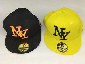 Lot-de-2-casquettes-NY-HipHop-Honour-noir-et-jaune-broderie-Envoi-rapide-suivi