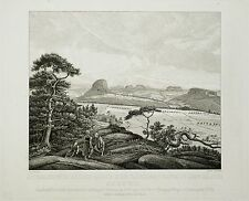 SÄCHSISCHE SCHWEIZ - KLEINER BÄRENSTEIN BEI WEISSIG - Kummer - Radierung 1830