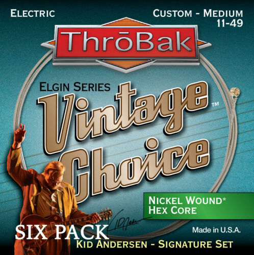 6 Pack ThroBak Vintage Choice Electric Guitar Strings Kid Andersen Med. 11-49