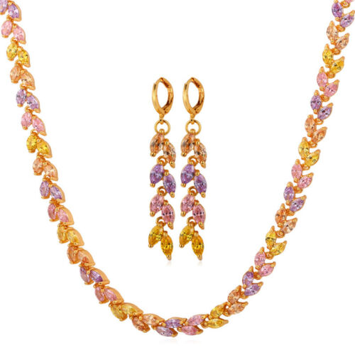 CZ Necklace Earrings Set 18K Gold Plated Wedding Jewelry for Women Deluxe AAA