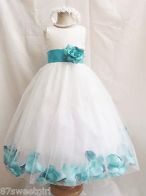 IVORY JADE TEAL GREEN WEDDING PARTY FLOWER GIRL DRESS S M L XL 2 4 6 8 10 121 4