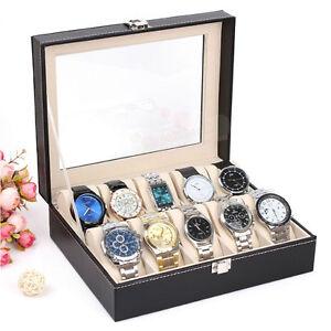 Leather-Watch-Display-Box-Storage-Holder-Organizer-Windowed-Case