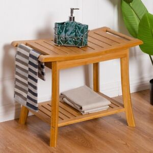 Image Is Loading Bamboo Bench Spa Shower Seat Stool W Storage