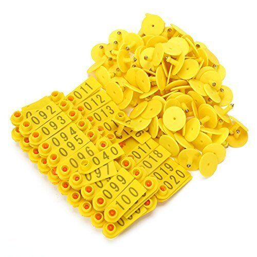 1-100 Number Goat Sheep Pig  Plastic Livestock Ear Tag With Yellow Color