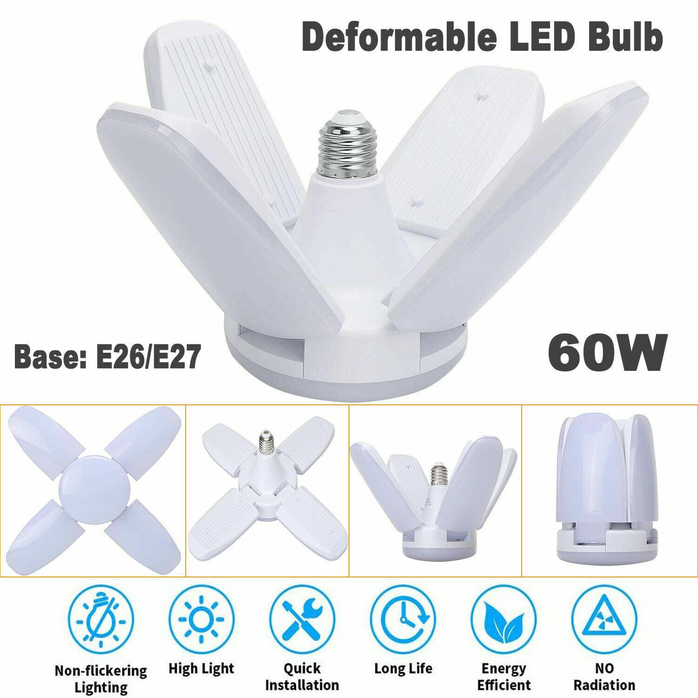 E27 LED Garage Light Bulb Deformable Ceiling Fixture Lights Shop Workshop Lamp
