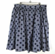 ModCloth Myrtlewood Polka Dot Chambray Skirt Womans Plus 2X Full Retro Lined