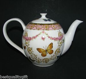 Nouveau-GRACE-Rose-jaune-dore-fleur-papillon-porcelaine-the-cafe-POT-5-Tasses