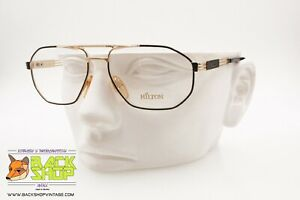 Hilton Class 51, Vintage Luxury Aviator Frame Eyeglass, Golden & Black, Nos Correspondant En Couleur