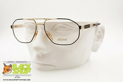 Ragionevole Hilton Class 51, Vintage Luxury Aviator Frame Eyeglass, Golden & Black, Nos Sconto Del 50