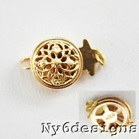 9mm 14k Gold Filled Flower Design Box Clasp 1pc/pkg (gf/6003) For Diy Jewelry
