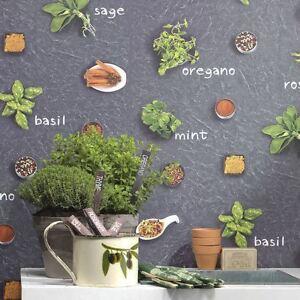 Hierbas-amp-Especias-Papel-Pintado-Rasch-930900-VINILO-CON-TEXTURA-Cocina