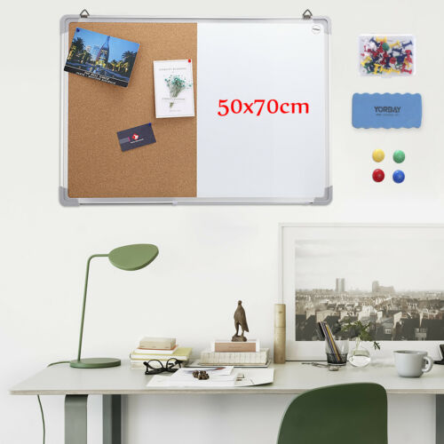 70x50cm Whiteboard Memoboard Pinnwand Korktafel Kombitafel Schreibtafel 2in 1