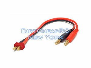 Battery-Charger-Charging-Leads-DEANS-ULTRA-T-Plug-Male-to-4mm-Bullet-Banana