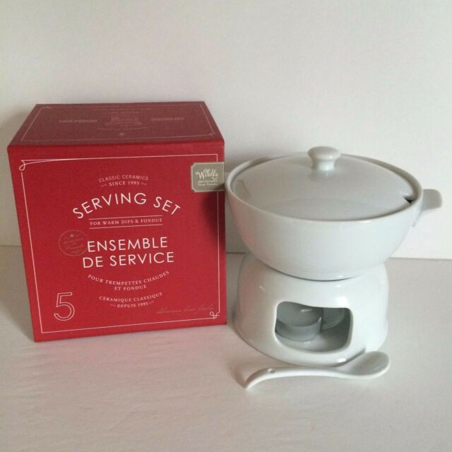 Dip Warmer Wildly Delicious Chocolate Fondue Cheese 5 Piece Set White