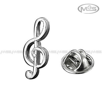 Brooch Emblem Badge Musical Note Treble Clef Silver Lapel Pin Gift