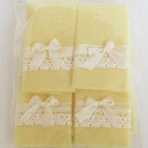 Dollhouse Yellow Bath Towel Set//4 Ribbon Lace Serendipity ba221Y Miniature
