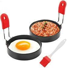 Urbanstrive 100/% Non Stick Eggs Rings 4 Pack Stainless Steel Egg Cooking Rings Pancake Mold for frying Eggs and Omelet Black