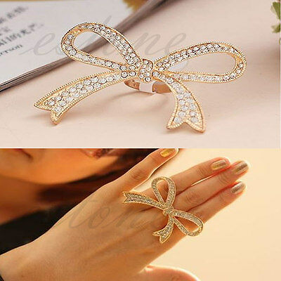 Hot Coming Charm Fashion Nice Punk Crystal Bowknot Ring Adjustable New