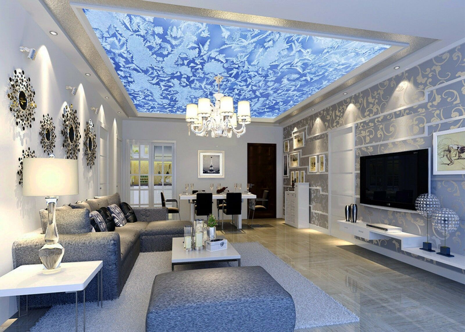 3D Snowflake 754 Ceiling WallPaper Murals Wall Print Decal Deco AJ WALLPAPER GB