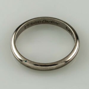 Cartier Wedding Band.Details About Cartier Platinum Plain Wedding Band Size 52 6 Us Sizing 2 Mm Wide