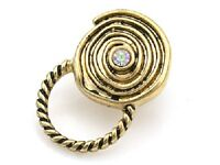 Magnetic Gold Tone Round Swirled Id Badge Or Eyeglass Holder Pin With Stone