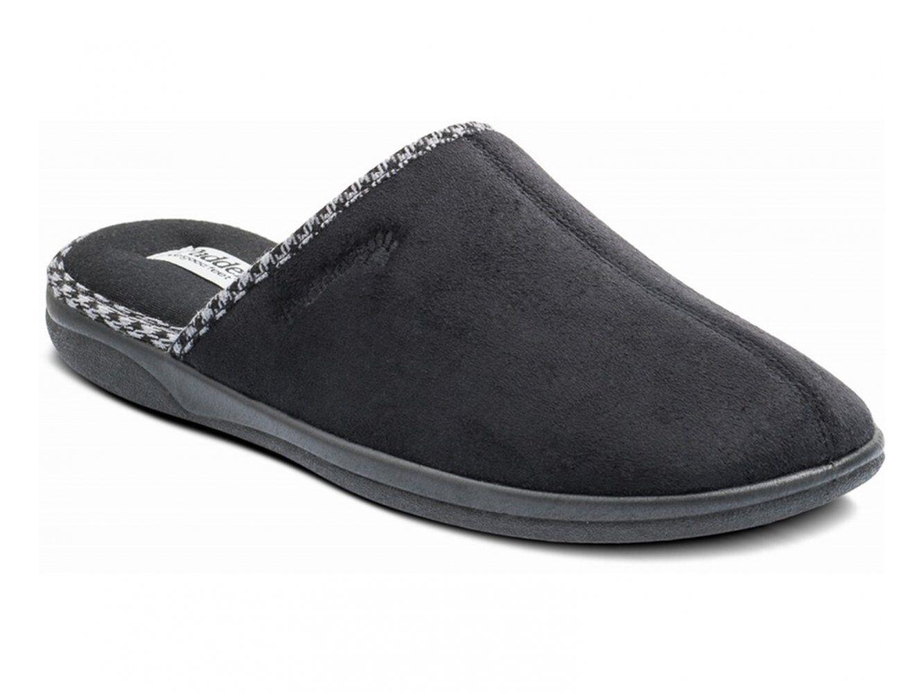 Padders LUKE Mens Microsuede Wide (G) Fitting Comfy Slip On Mule Slippers Black