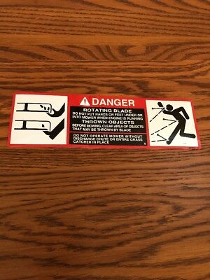 John Deere 318 Mower Deck Decal  Danger Rotating Blade