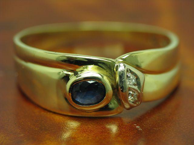 14kt 585 yellowgold Ring mit Brillant & 0,20ct Saphir Besatz   3,3g   RG 55,5