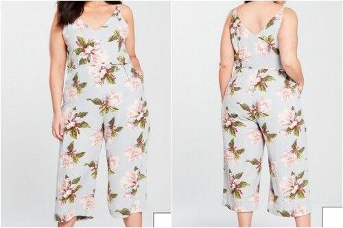 AX PARIS Curve Floral Print Jumpsuit in Grey Size (WB4)