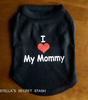 Dog Clothes T-shirt I Love My Mommy Tank Tee Xs-sm (sm Breed) Black