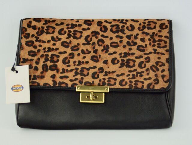 Fossil Memoir Clutch Wristlet Black Leather Cheetah Calf Hair Fur Bag